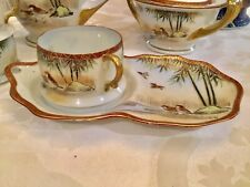 RARE 17th C. Signed Kutani Fine Eggshell Porcelain Gilt Tea Cup & Molded Saucer