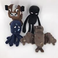 MINECRAFT LOT OF 4 Plush Minis Enderman Cow Bat Octopus Mojang Stuffed Toys