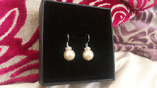 Swarovski pearl pierced STERLING SILVER bridal earrings w/ diamante crown