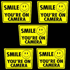 LOT OF 5 SMILE SURVEILLANCE SECURITY VIDEO CAMERA OUTDOOR WARNING STICKER DECAL