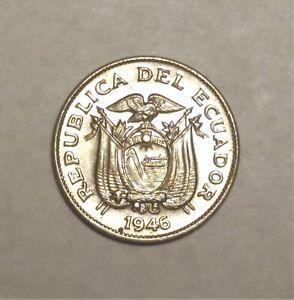 1946 Ecuador Five 5 Centavos DDO Double Die Obverse BU Uncirculated Coin ERROR