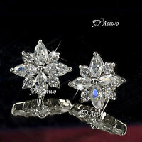 18K WHITE GOLD GF MADE WITH SWAROVSKI CRYSTAL WEDDING WOMENS STUD EARRINGS