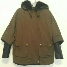 ZARA Veste Femmes Army Vert Kaki Cape Poncho Combination PARKA LEATHER slevee