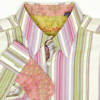 Robert Graham Mens Shirt XL Green Beige Purple Stripe Flip Cuff Button Front