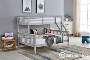 Bunk Bed wooden frame triple sleeper children 4ft6 adult Silk Grey or White bed
