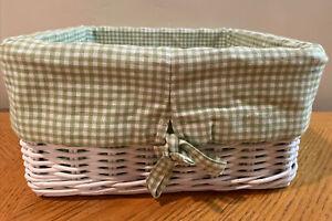 Pottery Barn Kids Large White Square Sabrina Basket 12x12x6 Bundled W/Grn Liner