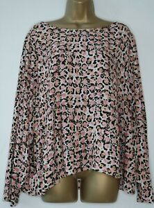 M&S IVORY PINK BLACK ANIMAL PRINT LONG SLEEVE BLOUSE SIZE 24 BNWT TOP LEOPARD