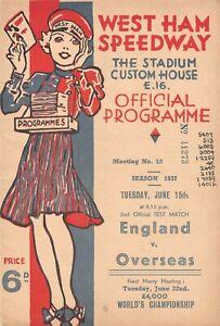 1937 West Ham : England v Overseas Speedway Programme (15/6/37)
