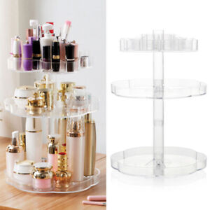 Large 360° Rotating Cosmetic Organizer Makeup Holder Jewelry Storage Box 3 Tier