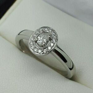 Platinum Oval Cut Diamond with Diamond Set Halo Ring, Finger Size N 1/2