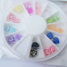 new Nail Art Wheel with 12 Colours & 3D Rose Designs - UK SELLER