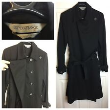 Max Mara Sportmax Black Long Coat Size 8 Work Smart Trench