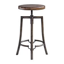 Round Industrial Antique Style Bar Stool   Adjustable Screw Seat Wood Steel Iron