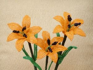 ** French Beaded Flowers ** 3 Handmade Orange Lilies  **