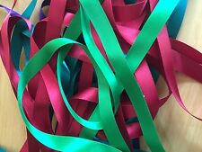 10 x 1 Metre Lengths of  Assorted Colours  SATIN RIBBON 15MM OFF CUTS BUNDLE