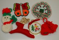 Vintage Christmas Lot of 6 HAND MADE Crochet Crewel Felt Cross Stitch ORNAMENTS