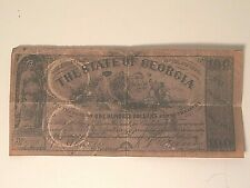 1920's Vintage Reproduction 1864 State Of Georgia 100 Note, Confederate Currency