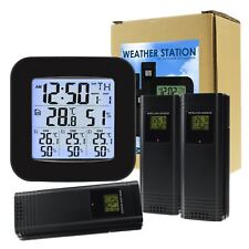 Wireless Weather Station Thermometer 3 Sensor Temperature Humidity Measure Clock