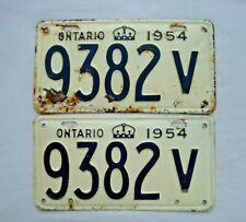 1954 ONTARIO Vintage License Plate PAIR # 9382V
