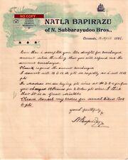 Document du 13/04/1926 NATLA BAPIRAZU Vins spiritueux - Cacanada (Kakinada) INDE