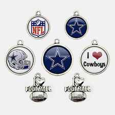 7Pcs NFL Dallas Cowboys Football Team Blue Star Logo charms Glass Jewelry Gift