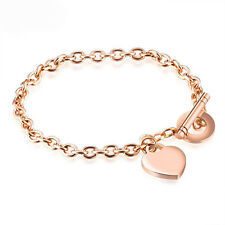 Rose Gold Heart Charm Bracelet Stainless Steel Chain Bangles Fashion Jewelry