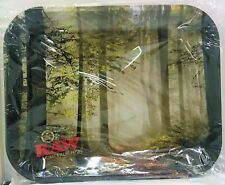 """New Large Raw Smokey Forest Unrefined Rolling Papers Tray 13""""x11"""" Metal Tray"""