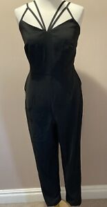 Rochelle Humes Black Strappy Jumpsuit Sizes 10 12 BNWT Party Evening