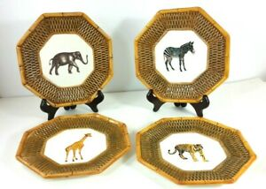 Set Of Four Safari Decor Plates Basket Weave Zebra Tiger Elephant Giraffe 8 Inch