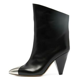 Womens Ladies Pull On Ankle Boots Cone Block Heel Pointy Toe Celeb Gift 34-43 L