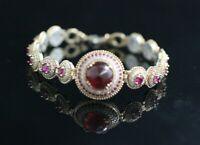 Turkish Handmade Jewelry Sterling Silver 925 Ruby Bracelet Bangle