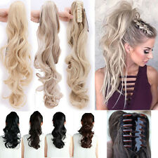 Womens long ponytail clip in human hair extensions ebay us ponytail clip in hair extensions jaw claw on pony tail real as human hair new pmusecretfo Choice Image