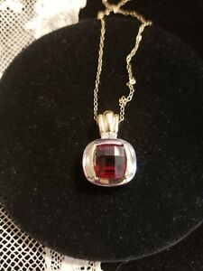 14K Two-Tone Gold GARNET & DIAMOND Necklace, Checkerboard Faceted Cushion-Cut