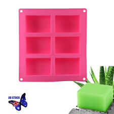 6-cavity Rectangle Soap Mold Cake Ice Silicone Mould Tray for Homemade DIY AU