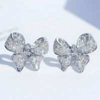 925 Silver Butterfly Bow Zircon Earrings Ear Stud Women Jewellery Xmas Gifts New