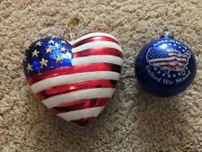 of Two Red, White, Blue Christmas Ornaments Vintage Patriotic Set