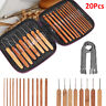20X Bamboo Crochet Hook Set Handle DIY Wooden knitting needle with case 1-10mm