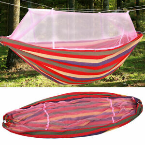 Double Person Outdoor Travel Camping Hanging Hammock Bed With Mosquito Net Swing