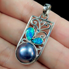 SYNTHETIC OPAL & BLUE MABE PEARL 925 Sterling Silver Pendant Jewellery