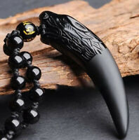 High Level Natural Black And Ice Obsidian Pendant Necklace Wolf Tooth Amulets
