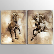 Unframed Home  Decor Canvas 2 Panels Wall Art Grey Horse Wall Art Canvas Prints