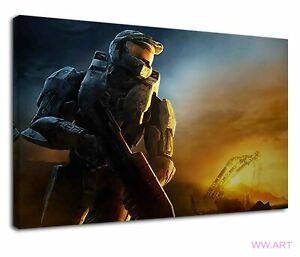 Halo Master Chief with assault rifle digital art Canvas Wall Art Picture Print