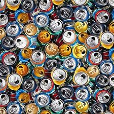 Fizz Ed Crushed Aluminum Cans Soda and Beer Can Tops Cotton Fabric Fat Quarter