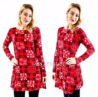 LADIES WOMENS KIDS LONG SLEEVES GIRLS XMAS CHRISTAMS FLARED PARTY SWING DRESS