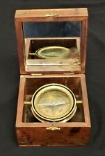 Vintage Decorative Nautical Compass Wooden Box Glass & Brass Mounts Inlaid