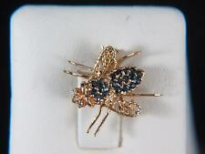 Vintage 14k Yellow Gold Fly Pin/Pendant with Sapphires and Diamonds