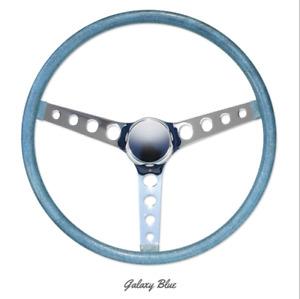 """15"""" Mooneyes 3-Spoke Steering Wheel Galaxy Blue Flake Finger Grip GS290CMGB"""