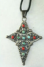 VINTAGE STERLING SILVER MEXICAN RE-ISSUED MATL TURQUOISE CORAL CROSS NECKLACE