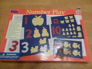LAURI 2000 Number Play Puzzle 65 Pieces 1-10 Plastic Foam Shapes Blue Red LR2414
