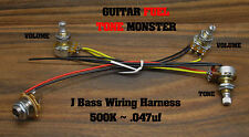 TONE MONSTER J Jazz Bass Guitar Wiring Harness (2) Volume Tone 500K .047uf MIK